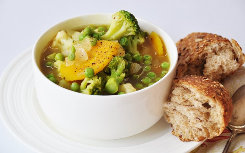 7 Ingredient 30 Minute Vegetable Soup! This soup recipe is so easy to make and it's healthy and delicious. The secret to its simplicity are frozen vegetables. This is perfect for a cold day when you don't feel like cooking. www.veganosity.com