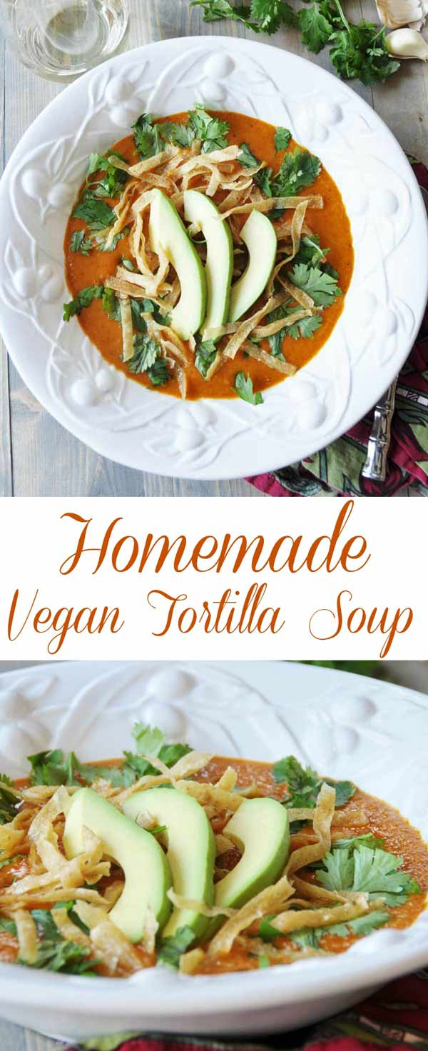 Homemade Vegan Tortilla Soup! This delicious, warm, spicy soup recipe is easy and quick to make. Filled with vitamins and nutrients. Healthy never tasted so good. One of my families favorites! www.veganosity.com