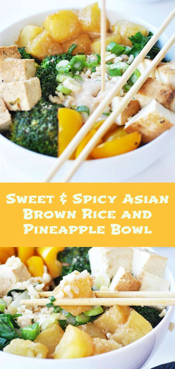 Sweet & Spicy Asian Brown Rice and Pineapple Bowl! A delicious and healthy bowl of sweet Dole Pineapple and vegetables sauted in Kikkoman Teriyaki and Soy Sauces, on a bed of Minute Brown Rice. The coconut soy sauce is full of flavor. Perfect for the Chinese New Year! #ChineseNYeats #ad www.veganosity.com