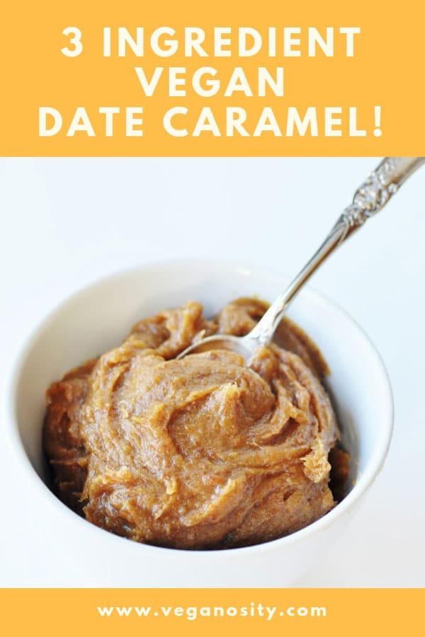 3 ingredient vegan date caramel! Put it on ice cream or anywhere you need a little extra sweetness. #vegan #caramel #dates