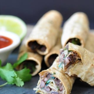 Homemade Black Bean & Spinach Taquitos