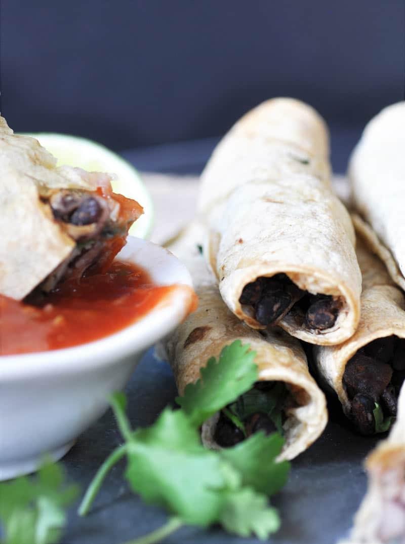 Homemade Black Bean & Spinach Taquitos - Veganosity