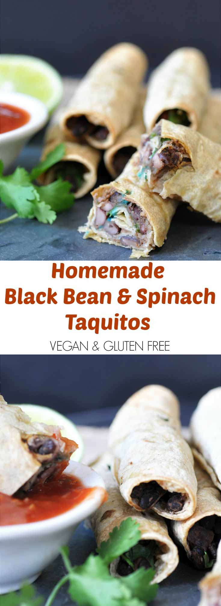 Homemade Black Bean & Spinach Taquitos! This taquito recipe is so crispy on the outside and savory and chewy on the inside. The perfect appetizer or make it part of a meal. www.veganosity.com