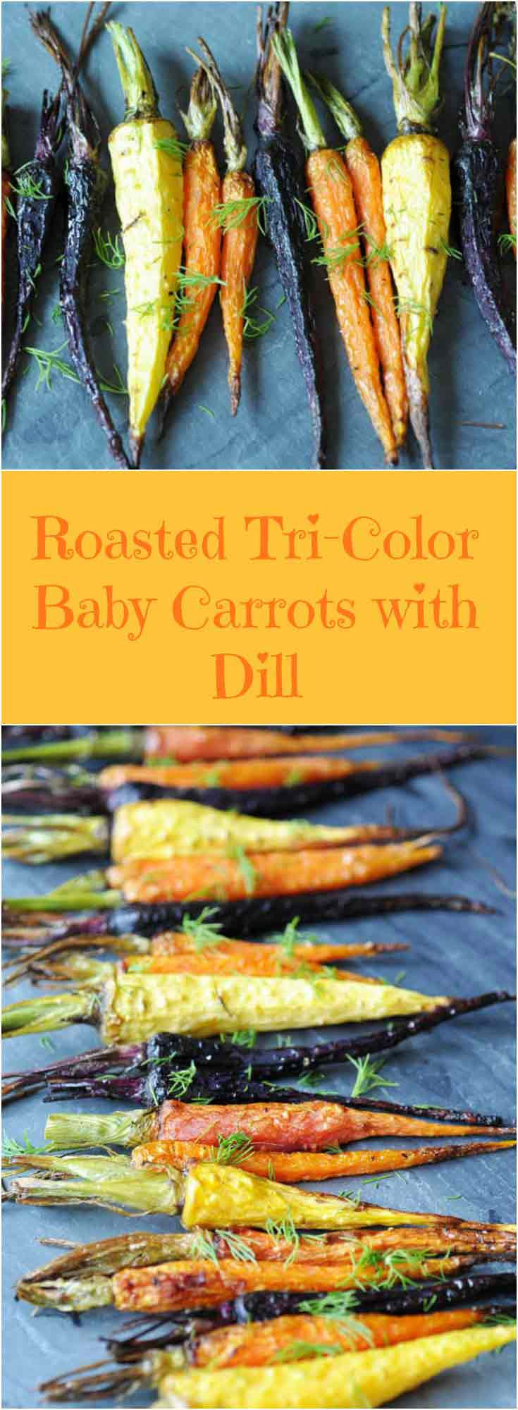 Roasted Tri-Color Baby Carrots with Dill! This recipe is for those who love tender and savory baby carrots with the fresh taste of dill. Easy, fast, and delicious. www.veganosity.com