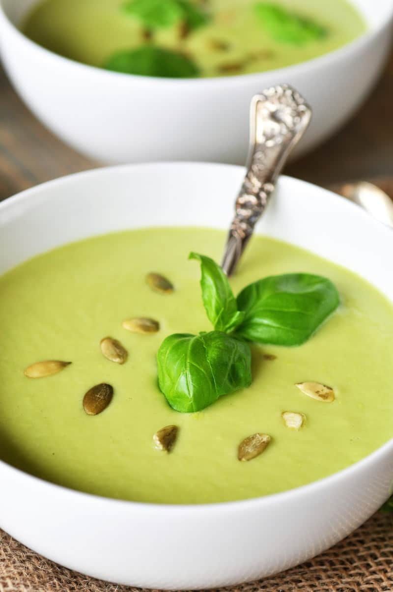 Vegan Cream of Celery Soup! A simple, easy, and delicious soup recipe made with celery, basil, and lemon. www.veganosity.com