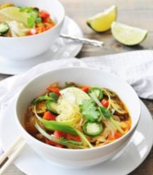 Asian Vegetable & Glass Noodle Soup! This glass noodle soup recipe is filled with vegetables and savory spices, with a bright blast of lime. Easy, healthy, and delicious. www.veganosity.com
