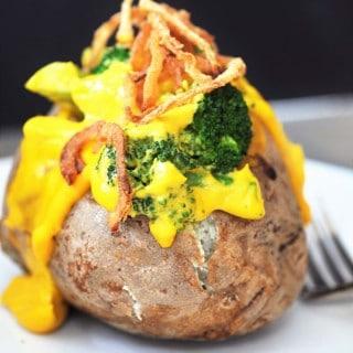 Vegan Cheddar & Broccoli Stuffed Baked Potato