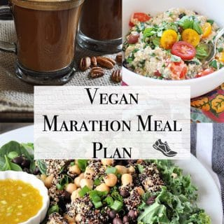 vegan marathon meal plan 1 with savory oatmeal, pecan latte, and superfood protein vegan salad