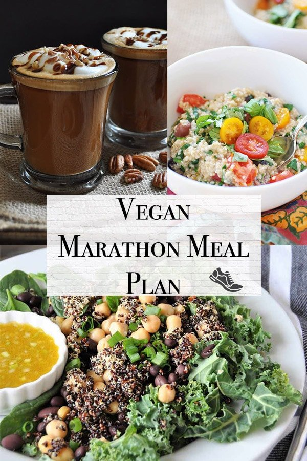 vegan marathon meal plan 1 with savory oatmeal, pecan latte, and superfood protein vegan salad