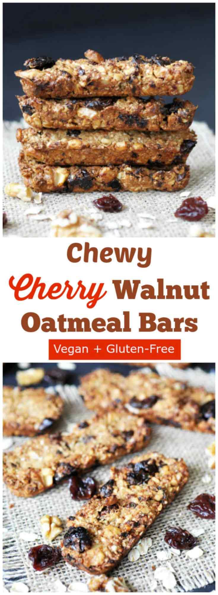 Chewy Cherry-Walnut Oatmeal Energy Bars! This granola bar recipe is ...