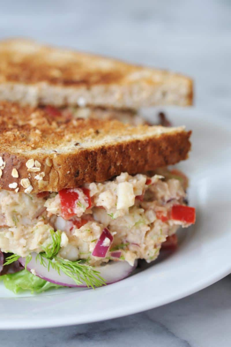 "Vegan ""Tuna"" Salad! This vegan ""tuna"" salad recipe is made with white beans and palm hearts. You''re going to love it. www.veganosity.com"