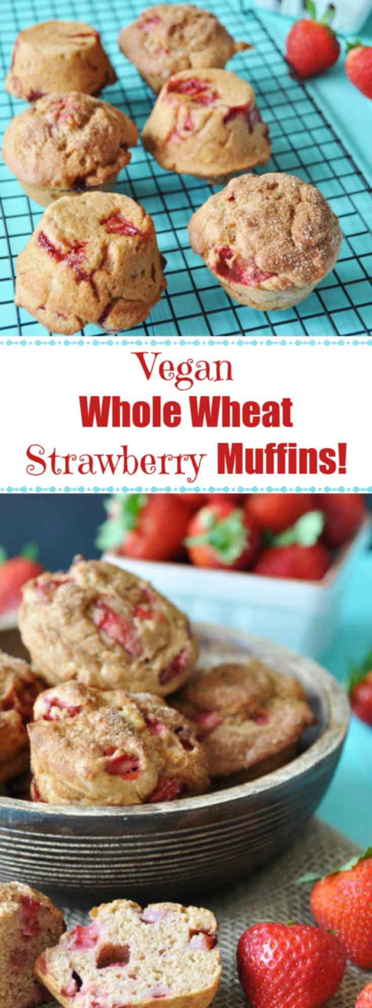 Vegan Whole Wheat Strawberry Muffins! This healthy and delicious recipe is bursting with fresh seasonal strawberries and nutty whole wheat flour. You have to try them. www.veganosity.com