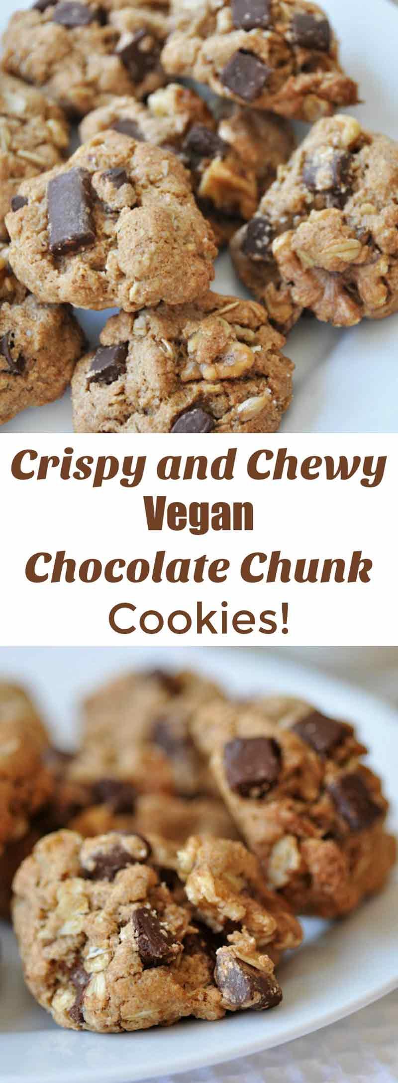 Crispy Vegan Chocolate Chunk Oatmeal Cookies - Veganosity