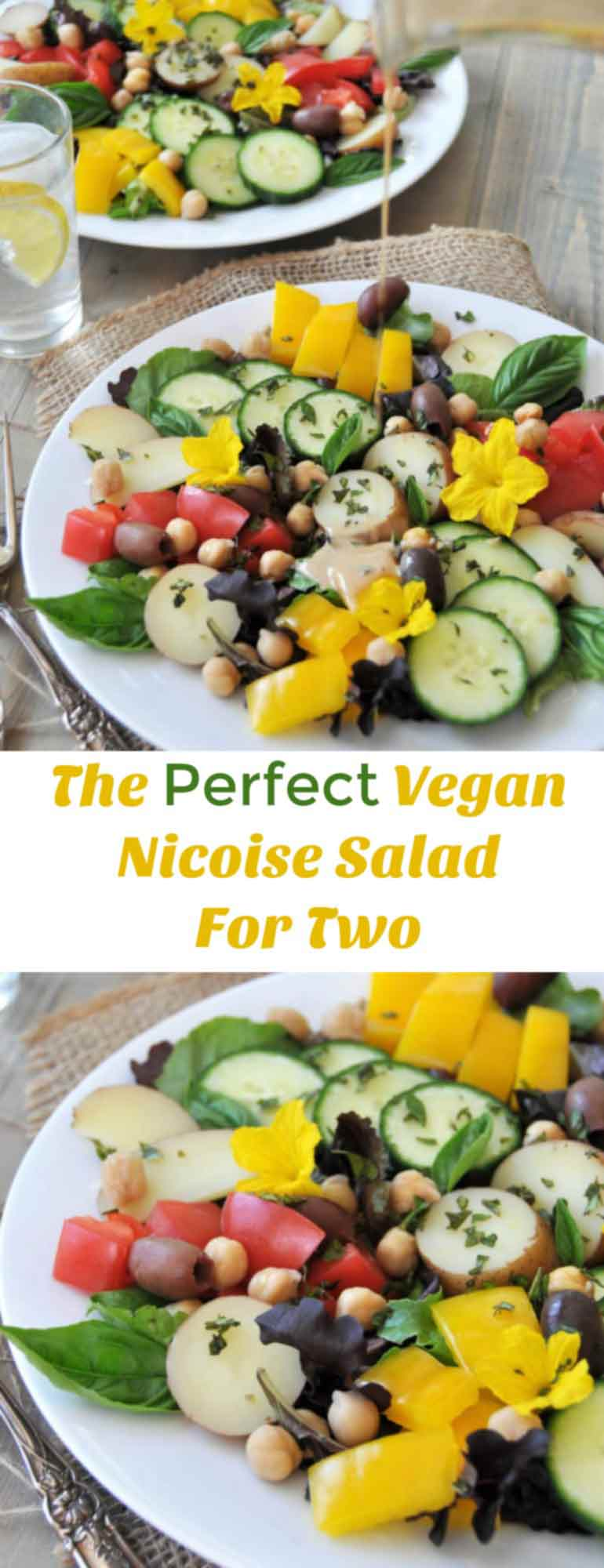 The perfect vegan nicoise salad for two! Made with chickpeas, fresh cucumbers, and a tangy Dijon mustard dressing. www.veganosity.com