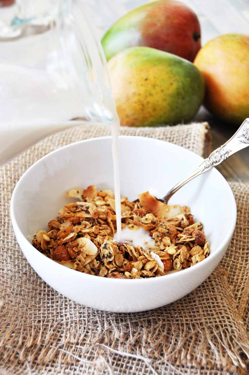 Make your own tropical granola with dried mango, coconut, almonds, watermelon seeds, oats, and chia seeds. SO delicious! www.veganosity.com