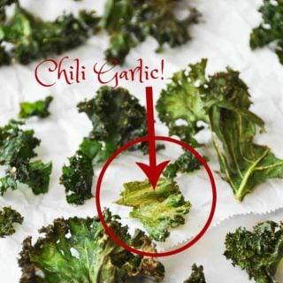 Homemade Chili Garlic Kale Chips
