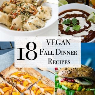 18 Fall vegan dinners with vegan pumpkin risotto, pumpkin chili, pumpkin burger, and pumpkin tart