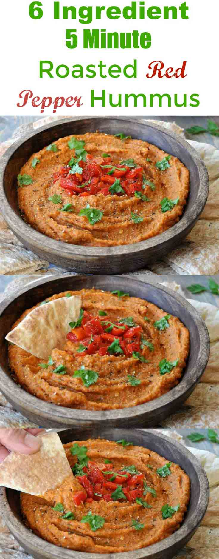 This roasted red pepper hummus recipe is so easy to make. Perfect for ...