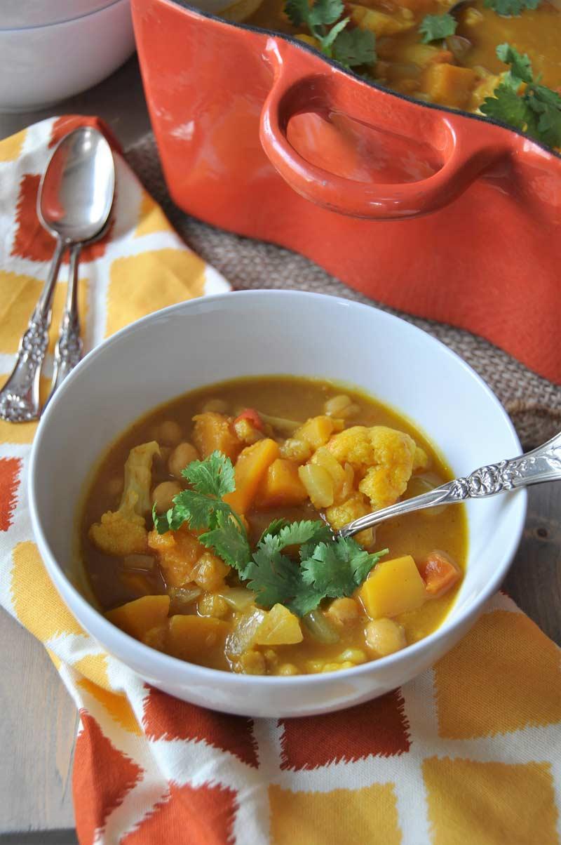 Curried Pumpkin & Butternut Squash Stew - Veganosity