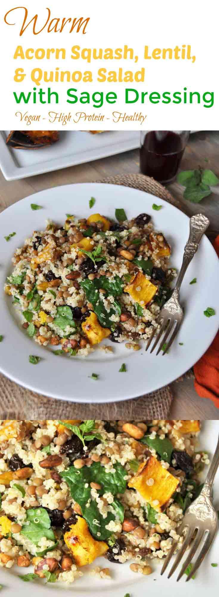 salad with roasted acorn squash, lentils, quinoa, and sage dressing ...
