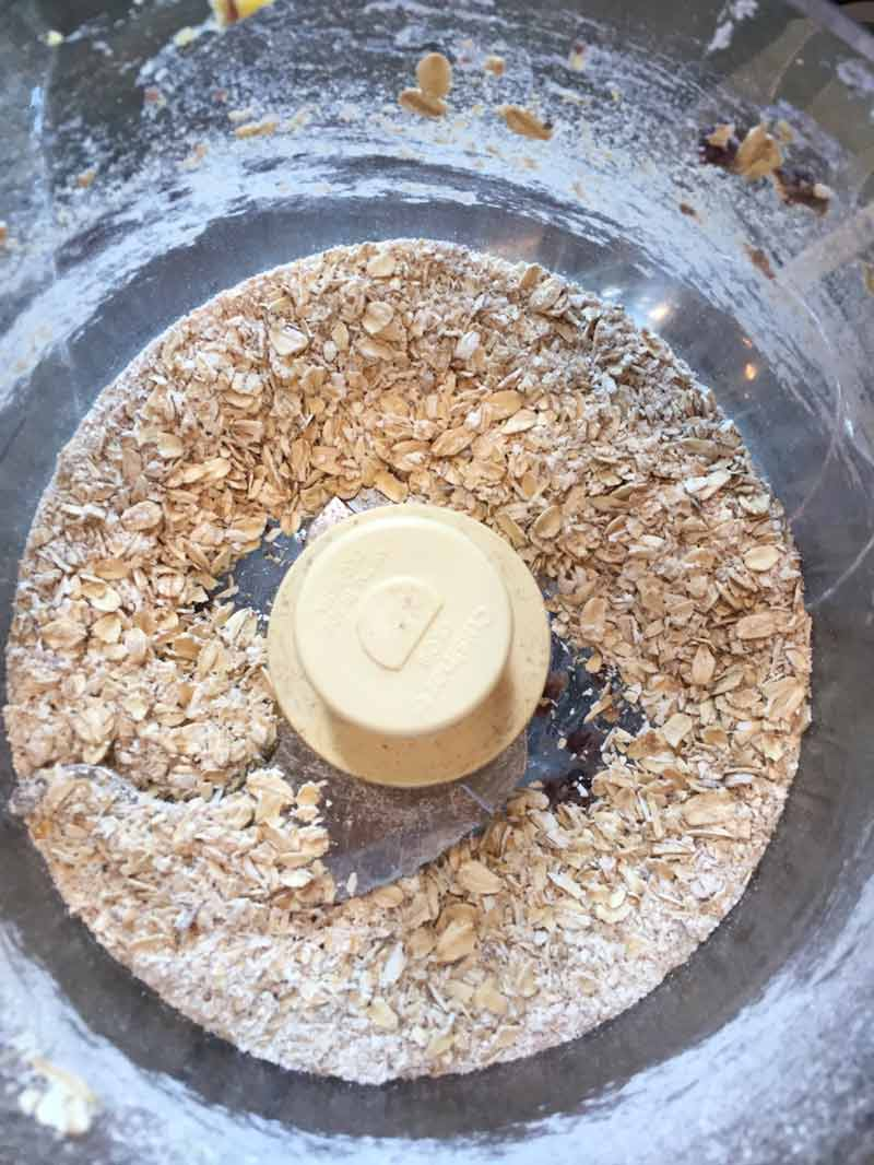 ground rolled oats in a food processor