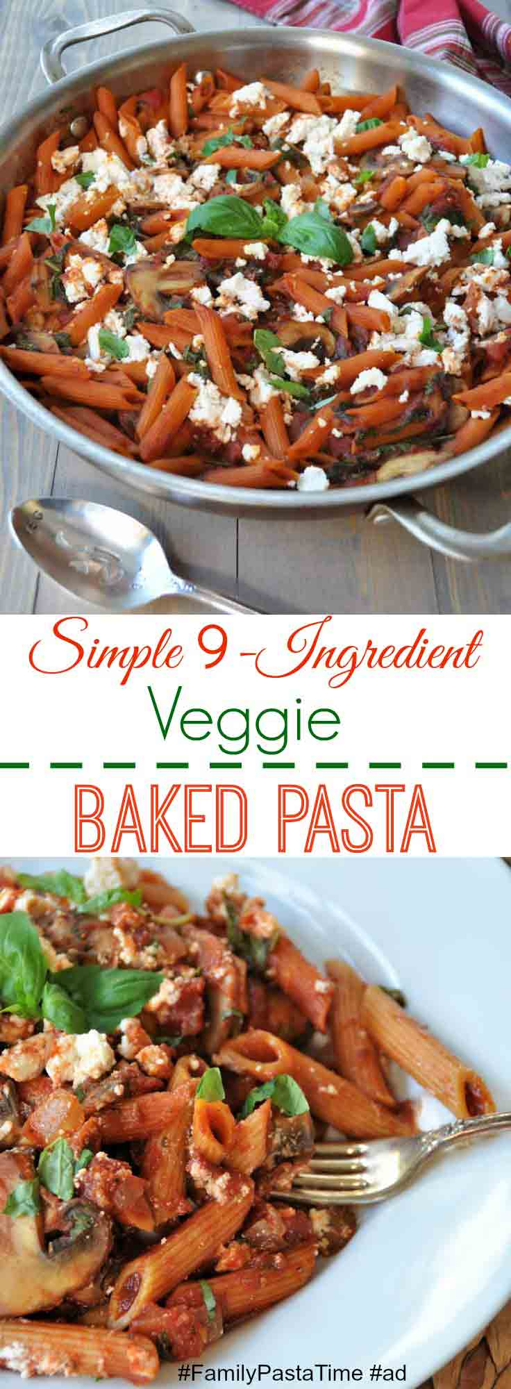 This delicious and easy 9 ingredient veggie pasta recipe is perfect for a busy weeknight or to take to a holiday gathering! #FamilyPastaTime #ad www.veganosity.com