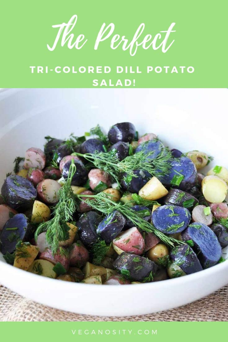 Learn how to make the perfect dill potato salad with baby tri-colored potatoes! #potatosalad #dill