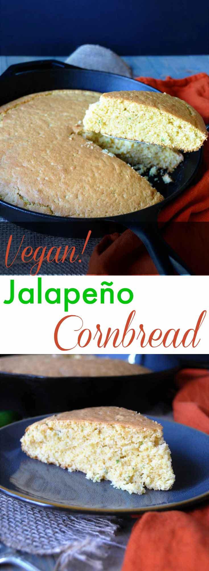 Spicy dairy-free, egg-free, and vegan jalapeño cornbread! So moist ...