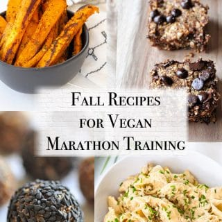 fall vegan marathon training meal plan with vegan buffalo chick'n mac n cheese, raw apple energy bites, protein bars, and cajun sweet potato fries