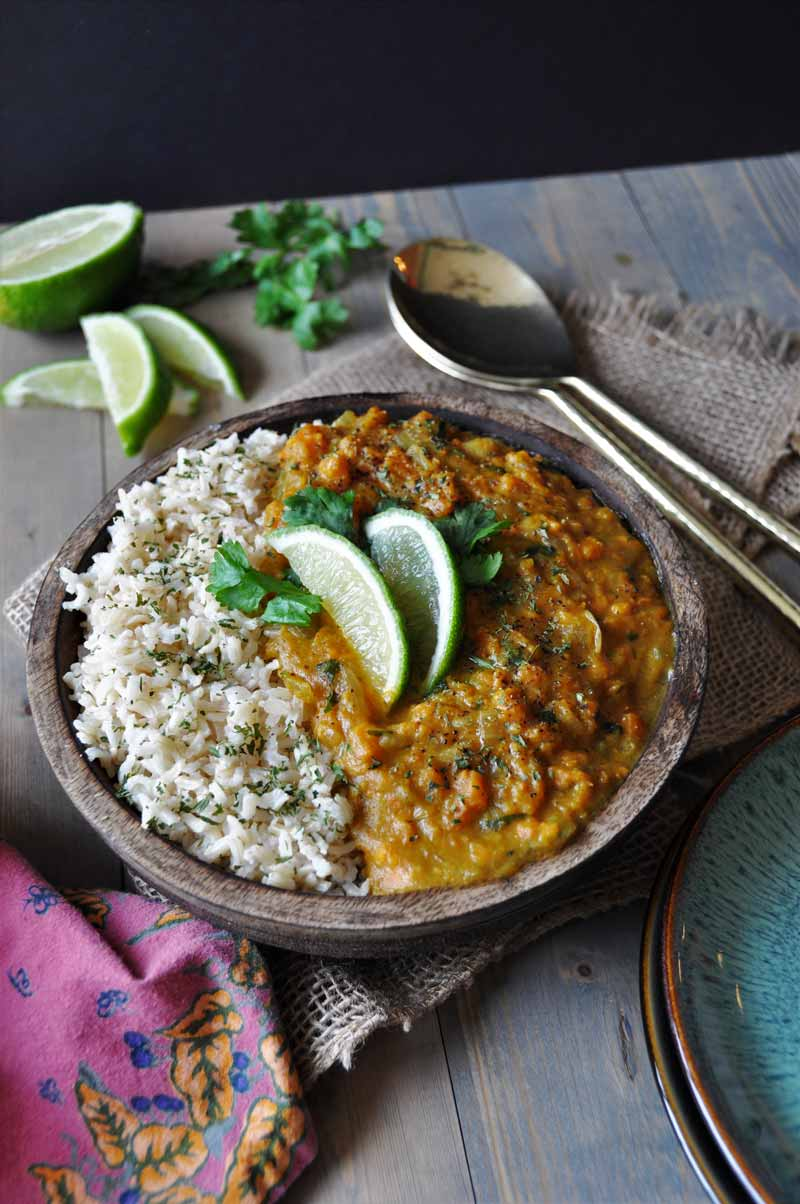 Easy and healthy sweet potato coconut curry from Blissful Basil. So delicious! www.veganosity.com