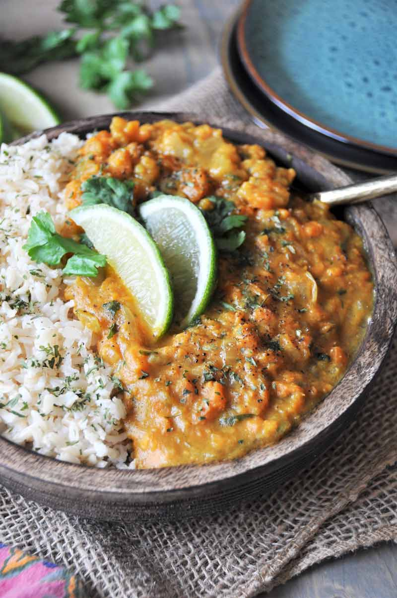 Savory sweet potato curry! Vegan, healthy, gluten-free, and delicious! www.veganosity.com