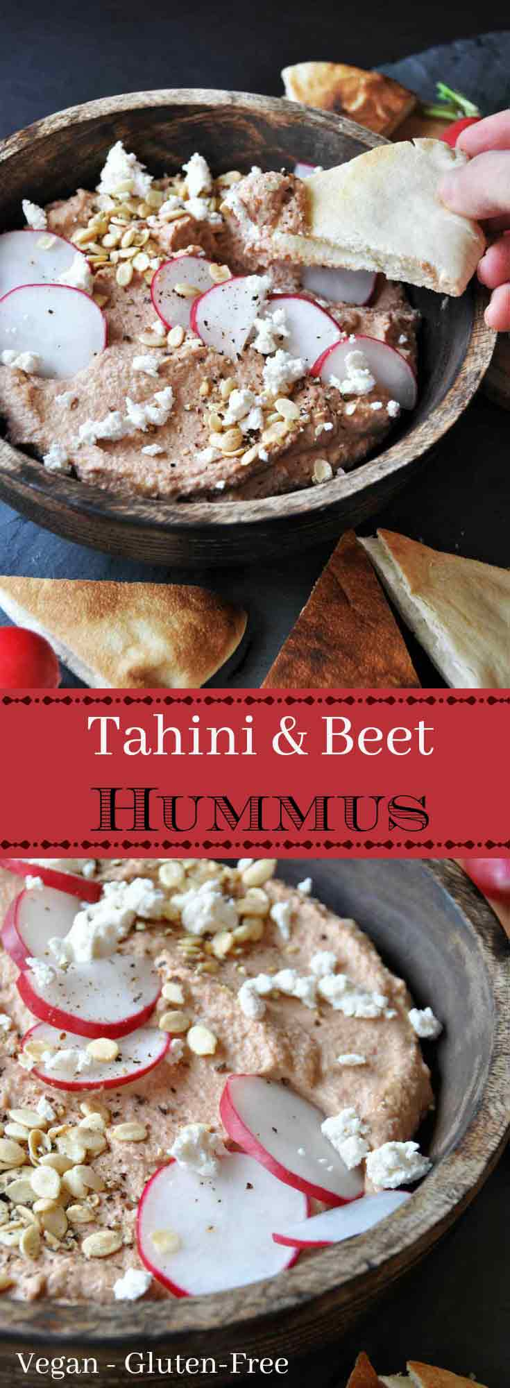 Tahini and roasted beet hummus! Vegan, gluten-free, and healthy. A high protein recipe. www.veganosity.com