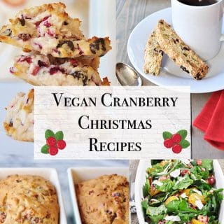Vegan Cranberry Recipe Title with pictures of vegan cranberry quickbread, vegan cranberry salad, vegan cranberry macaroons, and vegan cranberry biscotti