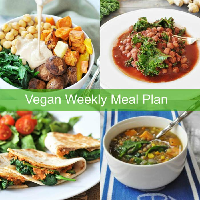 Vegan Weekly Meal Plan Collage with a root vegetable bowl, chickpeas marsala, quesadillas, and soup