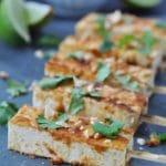 Peanut Sriracha Glazed Tofu Satay