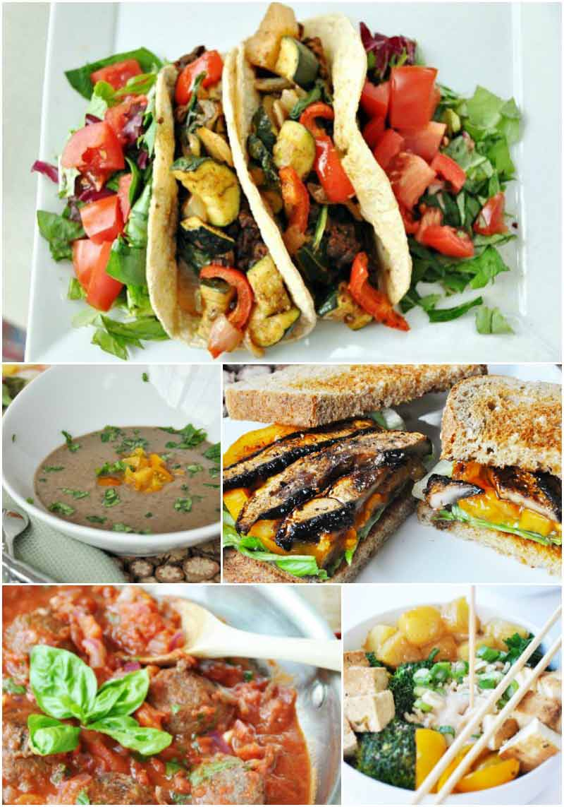 Vegan meal plan. 5 nights of healthy vegan dinners, tacos, black bean soup, BLT, meatballs, and Asian vegetable bowl