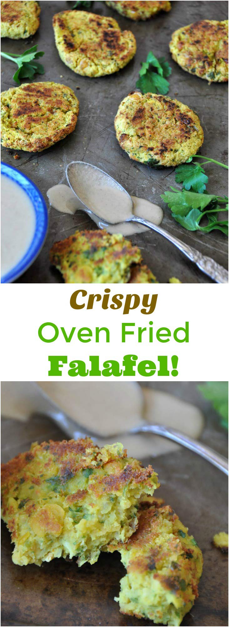 Crispy oven fried falafel for dinner! This is an easy and healthier version of deep fried falafel.