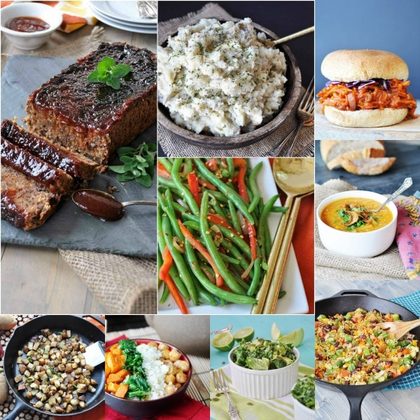 "a collage of vegan ""meatloaf,"" mashed potatoes, BBQ carrots, corn chowder, green beans, and salad"