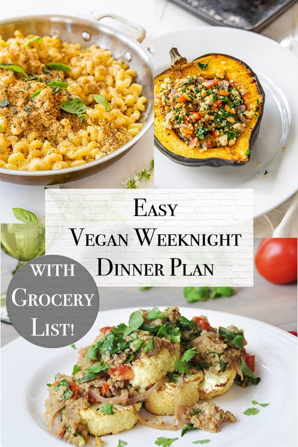 week night meal plan title all vegan with vegan mac n cheese, roasted cauliflower, and stuffed butternut squash
