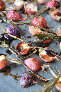 Simple and easy to make roasted radishes with balsamic vinegar. Perfect for an appetizer, side dish, and for Easter.