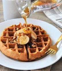 Dairy-free, egg-free, vegan walnut banana bread waffles! The perfect weekend breakfast!