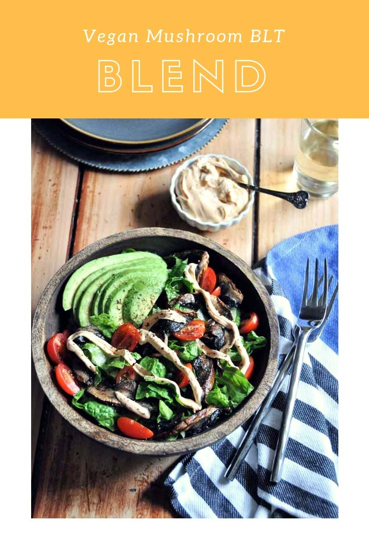 A vegan version of the BLT in salad form! Made with smoky Portobello mushrooms and a creamy smoky dressing. #vegan #blt #salad