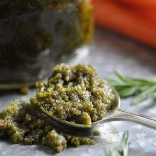 Pesto made with carrot tops and roasted almonds. Delicious!