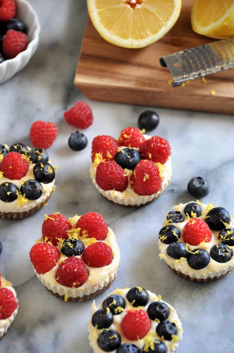Lemon and berry vegan cheesecake bites