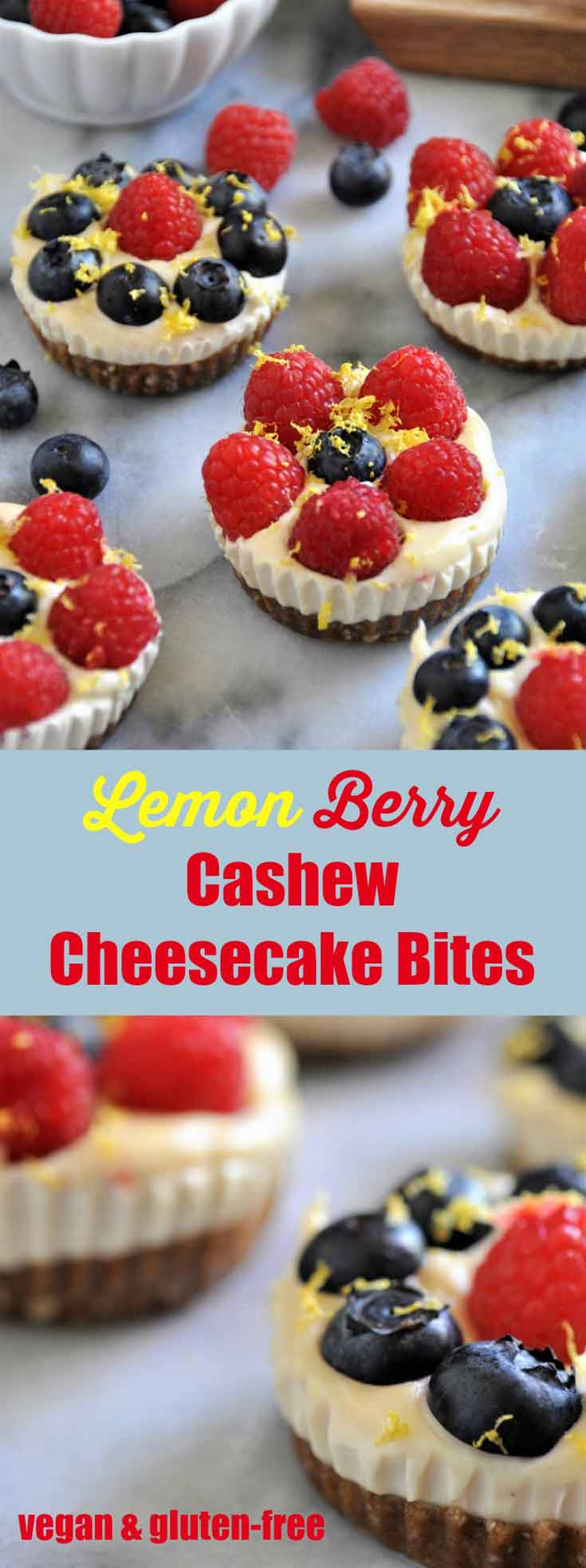 Lemon & Berry Vegan Cheesecake Bites. The perfect dairy-free and gluten-free dessert!