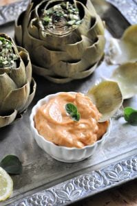 An easy way to steam artichokes, plus a spicy mayo recipe.
