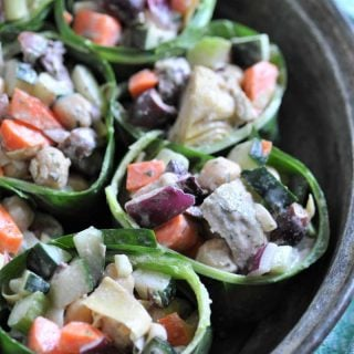 Healthy salad wraps with a creamy tahini dressing.