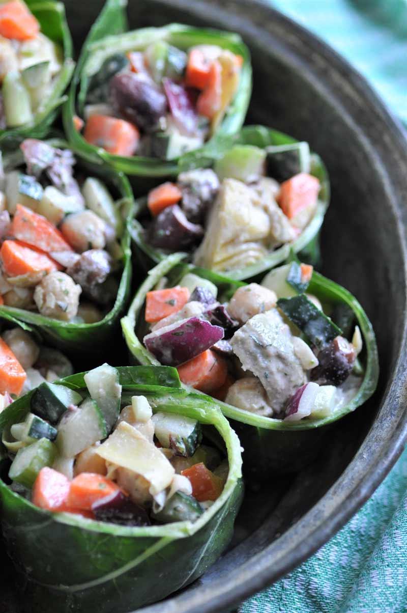 Mediterranean Salad Wraps with Tahini Dressing