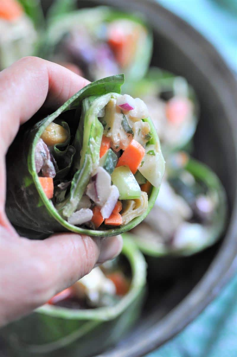 A healthy, carb friendly, salad wrap with tahini dressing.