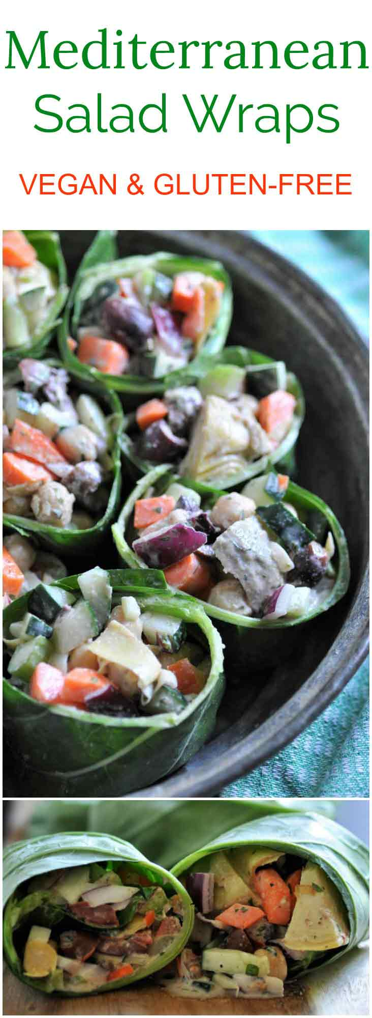 Fresh vegetables with a creamy tahini dressing with fresh herbs, wrapped up with collard green leaves. The perfect summer meal.